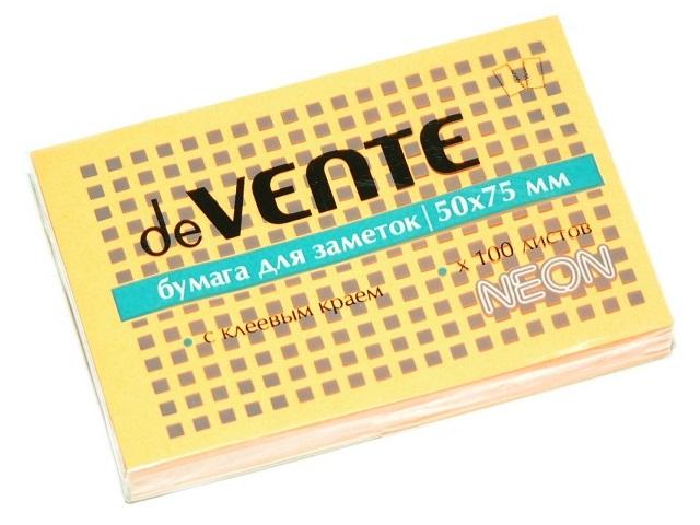 Стикер 50*75мм 100л неон оранжевый DeVente 2010315