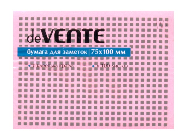 Стикер 75*100мм 100л розовый DeVente 2010319