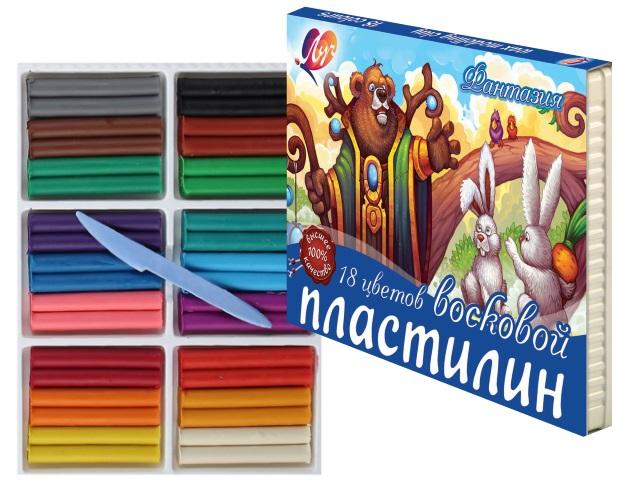 Пластилин 18 цветов 315г восковой Фантазия Луч 25С 1524-08