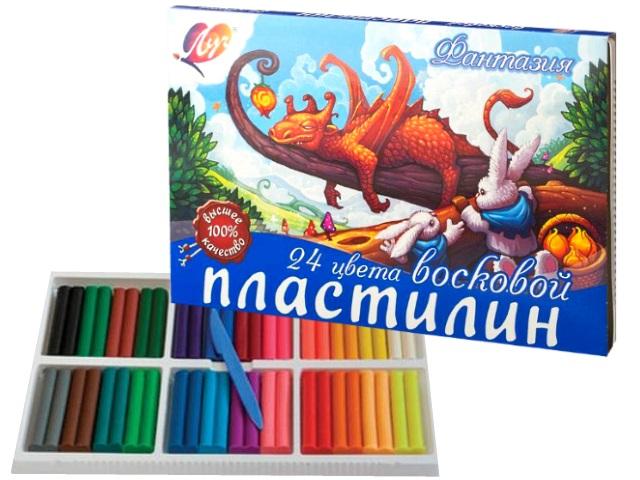 Пластилин 24 цвета Луч Фантазия восковой 420г 25С 1525-08