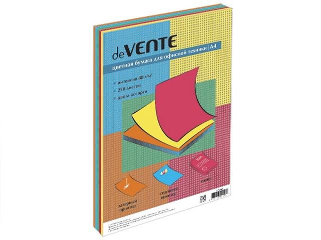 Бумага А4  80 г/м2 (5 цветов по 50л) 250 л. DeVente интенсив 2072415