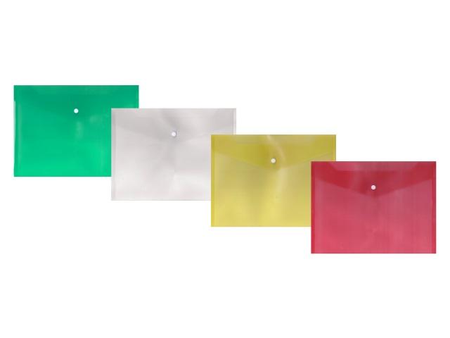 Папка конверт на кнопке В5 прозрачная цветная DeVente 3071415