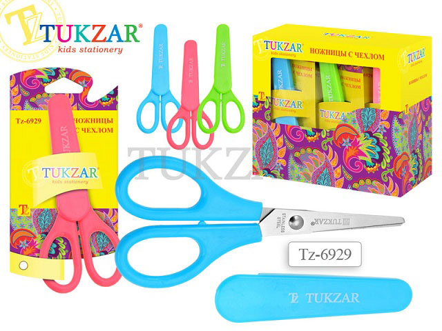 Ножницы 13 см детские с пластиковыми ручками в чехле, Tukzar TZ 6929