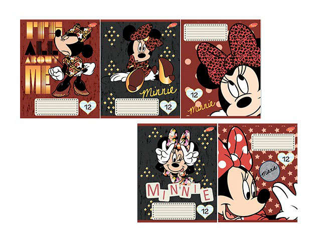 Тетрадь в линию 12 листов Minnie Mouse, лакированная обложка, Академия Групп ЕАС-D3516/5