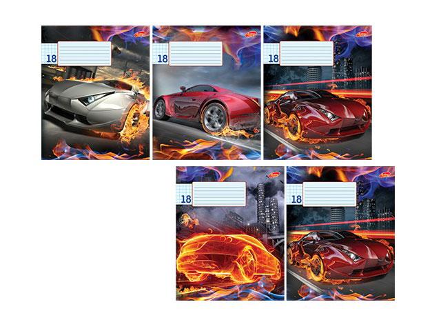 Тетрадь в клетку 18 листов Огненные авто, лакированная обложка, Академия Групп EAC-7813/5