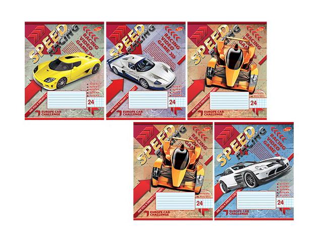 Тетрадь в клетку 24 листа Speed Racing, лакированная обложка, Академия Групп EAC-7817/5