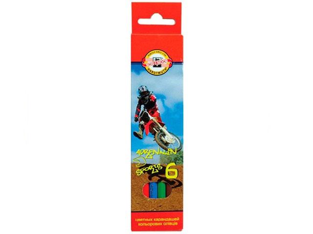 Карандаши цветные  6цв KIN Adrenalin Sports шестигранные 3551006007KSRU