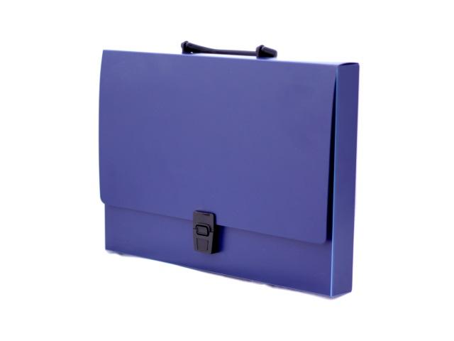 Портфель А4  1 отделение пластик синий на замке Kanzfile 06P-PE