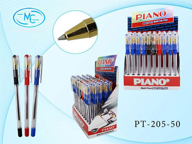 Ручка масл Piano Gold Basir 3цв син35/черн10/красн5 0.5мм PT-205/1/50/1200