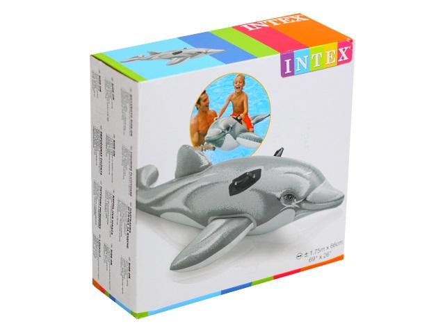 Игрушка надувная 175*66см с держателями Дельфин Intex 58535
