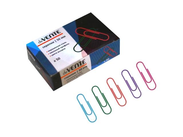Скрепки цветные 50 мм, 50 шт в упаковке, DeVente 4135327