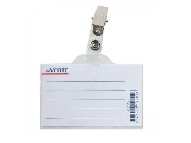 Бейдж с клипом  60*90 мм горизонтальный прозрачный DeVente 4010302