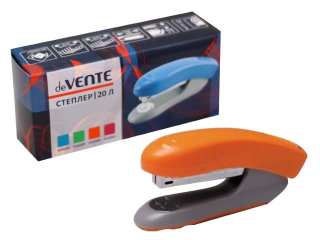 Степлер №24/6-26/6 20л пластик неон оранжевый DeVente 4142340