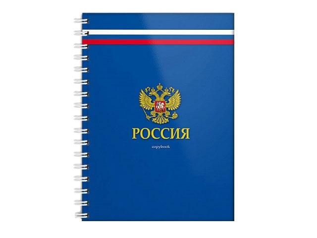 Блокнот А5 спираль сбоку тв/переплёт  80л Российский герб Prof Press 80-8107