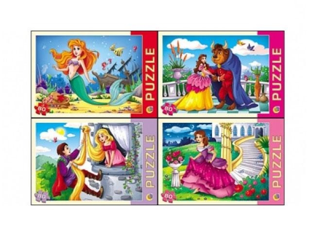 Пазлы   80 деталей Любимые принцессы Рыжий кот П80-0215