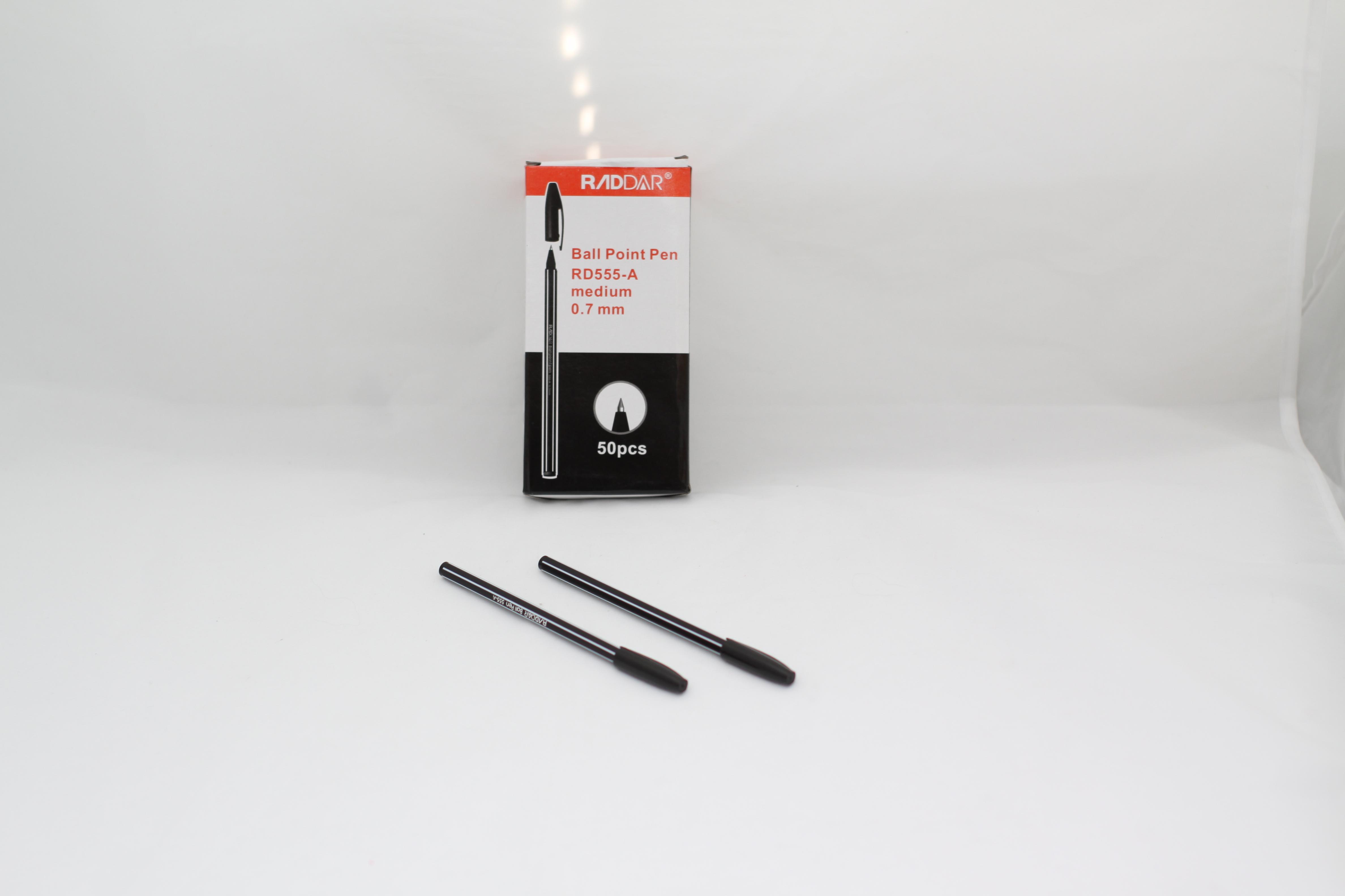 Ручка шариковая Полосы Raddar черная 0.7мм 555