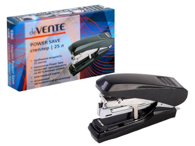 Степлер №10 25л пластик черный с антистеплером Power Save DeVente 4142501