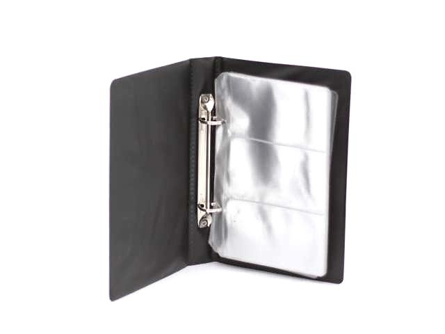 Визитница на 120 карт 13*19 см ПВХ черная на 2 кольца Panta Plast 03-3042-2