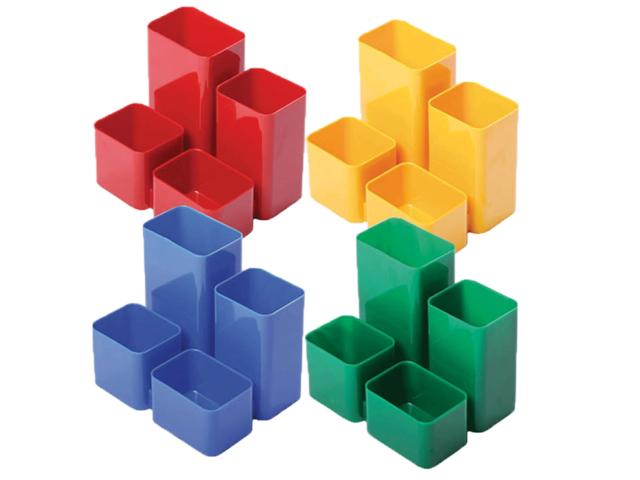 Подставка для ручек  4 отделения Юниор цветная квадратная Стамм ОР305