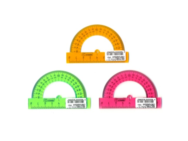 Транспортир  8 см 180* прозрачный цветной Стамм ТР01