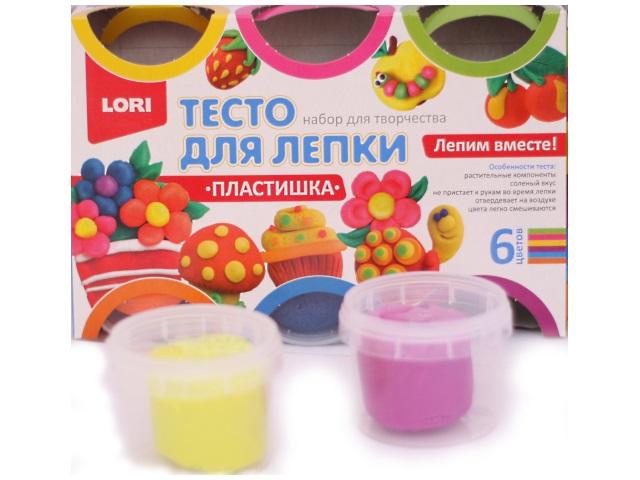 Тесто для моделирования, 6 цветов по 80 гр, Пластишка № 10, в коробке, Lori Тдл-013