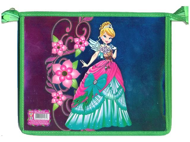 Папка для тетрадей на молнии, А5, пластиковая, фольгированный картон, Принцесса Элизабет, Пчелка