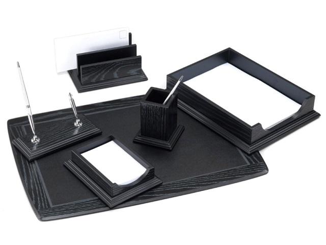 Настольный набор деревянный, 6 предметов (подложка на стол, подставка для ручек с 2 ручками, подставка для записок, подставка для писем, подставка для пишущих принадлежностей, лоток для бумаг), дуб, Good Sunrise BK6DX-1
