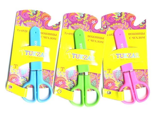 Ножницы 12см., детские, с пластиковыми ручками, в чехле, Tukzar