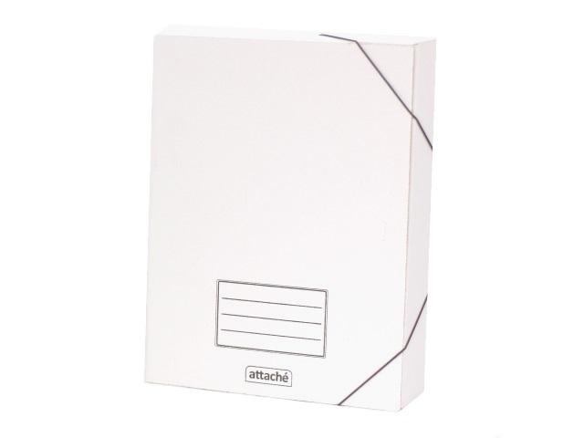Папка архивная картон на резинке А4  7.5см белая Attache 131302