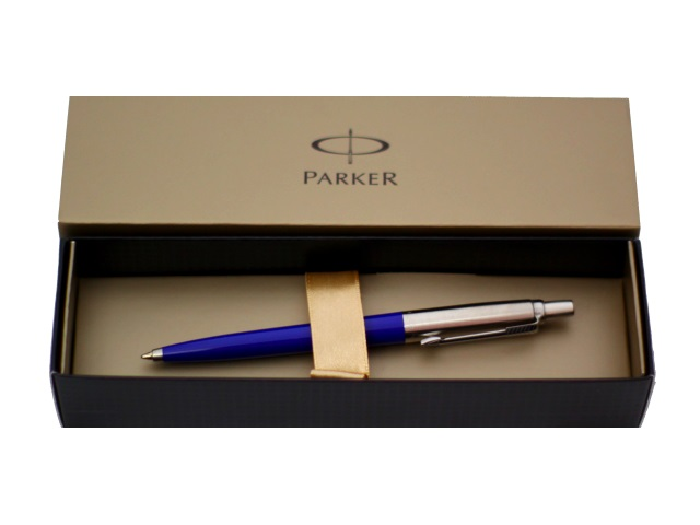 Ручка шариковая автоматическая металлическая, синие чернила 1 мм, корпус - сине-серебристый, нержавеющий, в футляре, Jotter, Parker