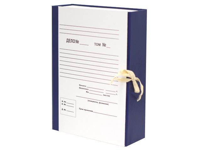 Папка архивная бумвинил на завязках А4  8см синяя DeVente 3010558