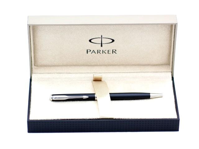 Ручка шариковая поворотная металлическая, черные чернила 1 мм, корпус - черный матовый, в футляре, Sonnet Slim, Parker S0818170