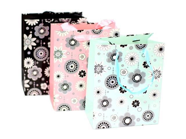 Пакет подарочный бумажный 23*18*10 см Цветы, Basir МС-3040