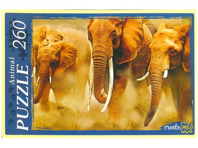 Пазлы  260 деталей Бегущие слоны КБ260-4007