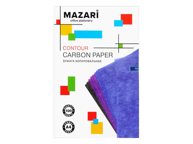 Копировальная бумага А4 100л синяя Mazari М-5691