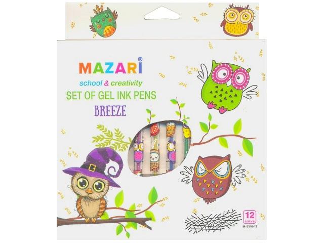 Ручка гелевая, детская, в наборе 12 цветов, 0.8 мм, с блеском, ароматизированная, Mazari