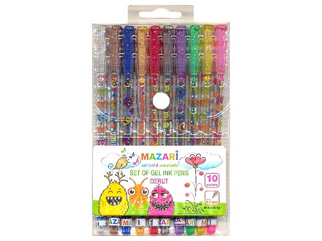 Ручка гелевая детская в наборе 10 цветов с блеском Debut, 0.8 мм, Mazari М-5514-10