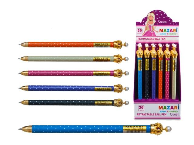 Ручка шариковая автомат Mazari Queen Корона синяя 0.7мм М-7306