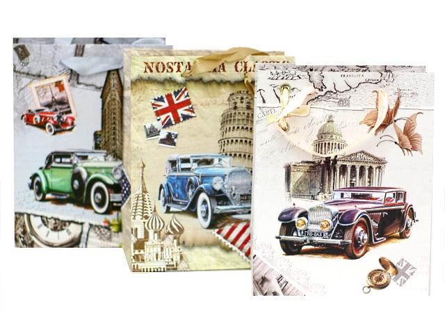 Пакет подарочный бумажный 23*18*10см Ретро Автомобили Mazari М-8054
