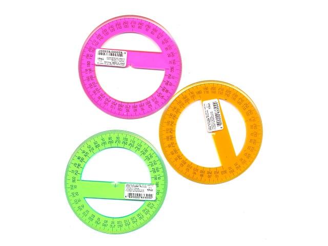 Транспортир 10 см 360* прозрачный цветной Стамм ТР41
