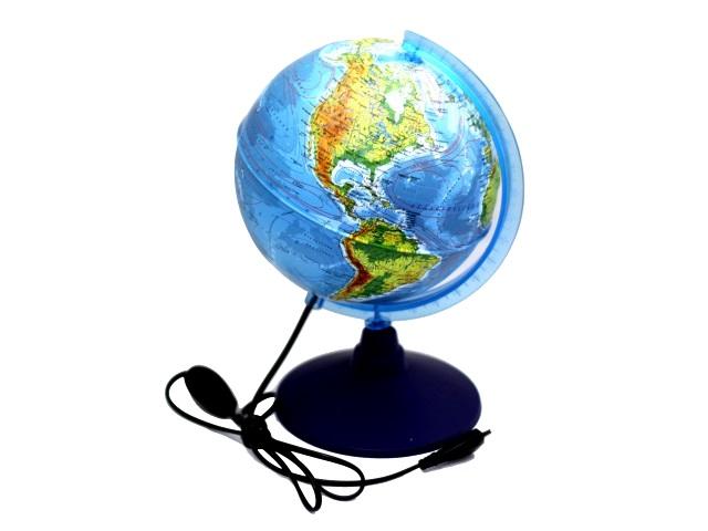 Глобус физико-политический D 250 мм рельефный с подсветкой Ке022500195