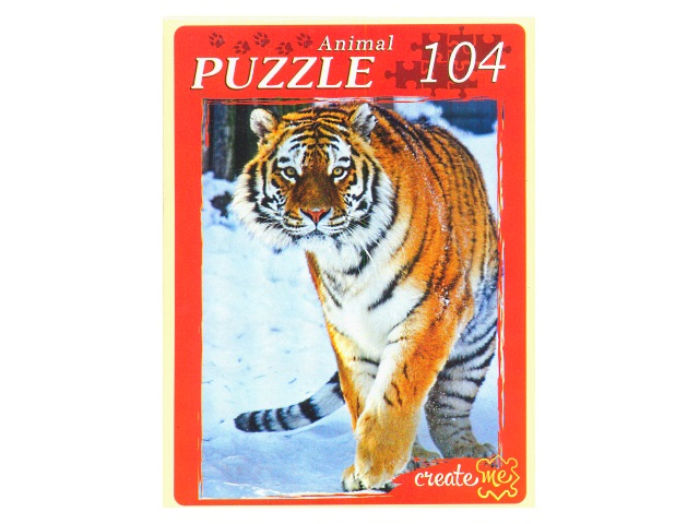 Пазлы  104 детали Тигр в снегу КБ104-7990
