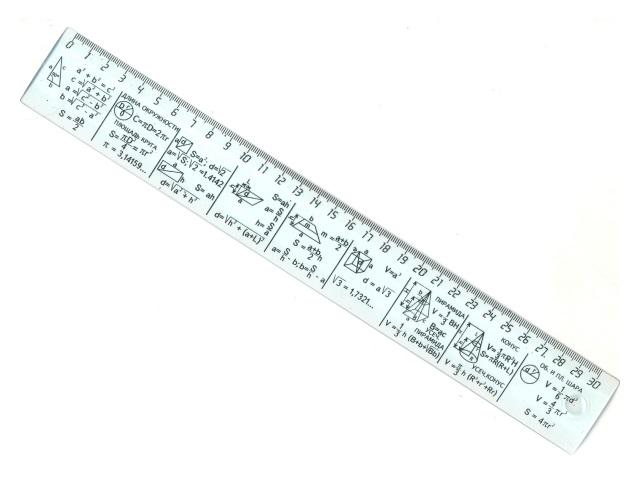 Линейка  30 см прозрачная Геометрические формулы DeVente 5091513