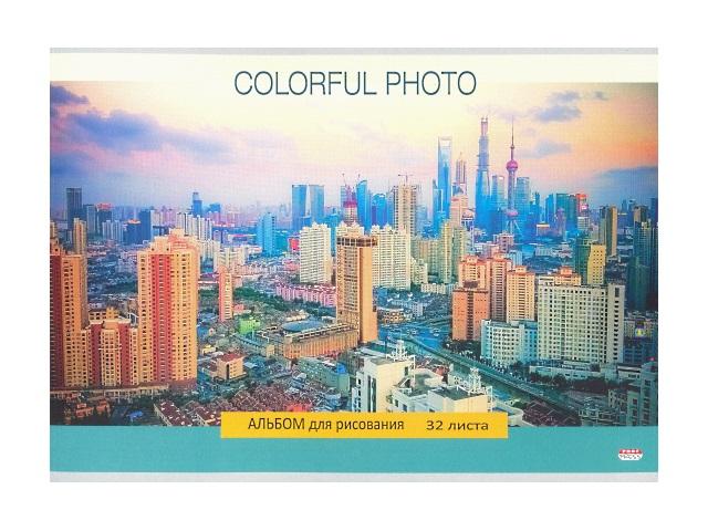 Альбом 32л А4 на скобах Цветной город 100г/м2 Prof Press 32-1261