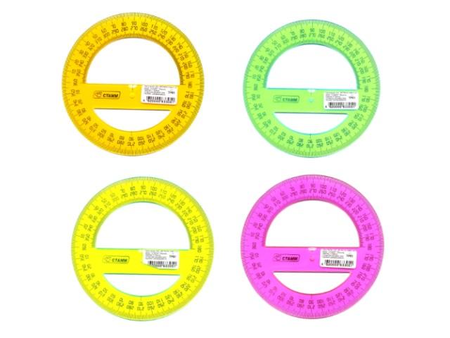 Транспортир 12 см 360* неон цветной Cristal Стамм ТР51