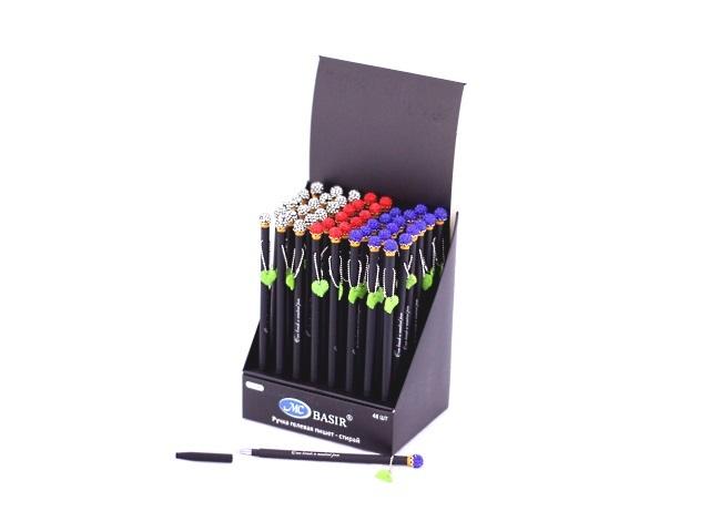 Ручка пиши-стирай Basir Корона подвеска листочки гелевая синяя 0.38мм MC-3980