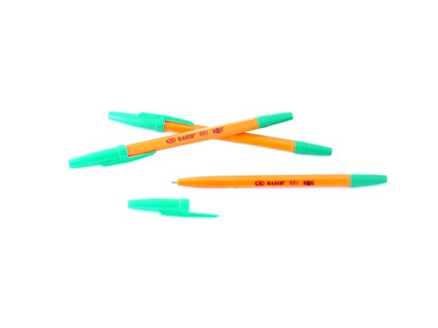 Ручка шариковая Basir 051 зеленая 1мм желтый корпус