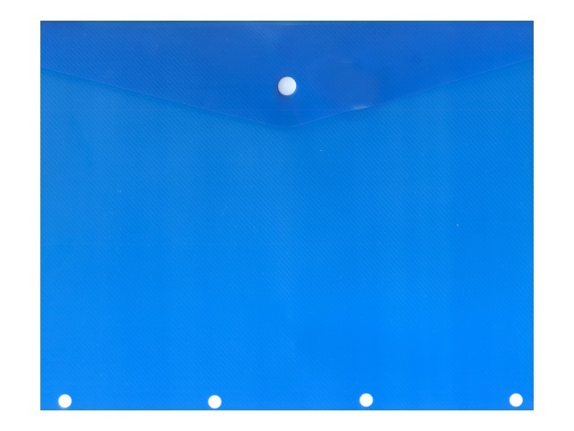 Папка конверт на кнопке А4 с перфорацией синяя прозрачная 180мкм 220562