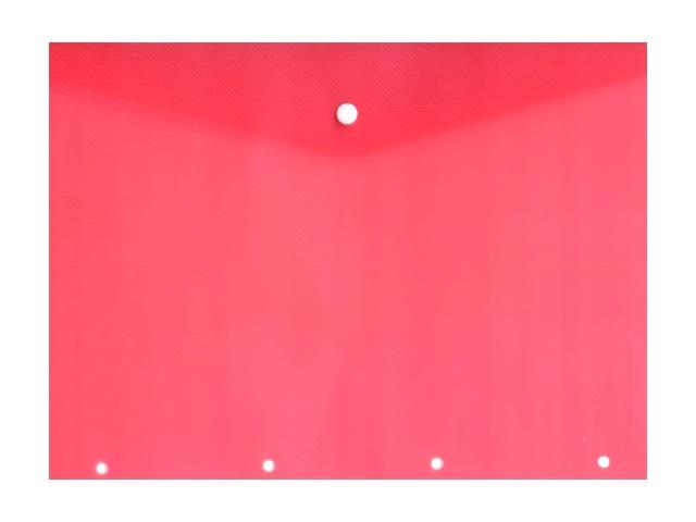 Папка конверт на кнопке А4 с перфорацией красная прозрачная 180мкм 220563