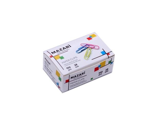 Скрепки 28 мм цветные, 100 шт. в коробке, Mazari М-6887